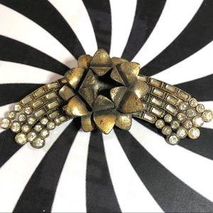 Vintage 80's Bronze Brass flower spray rhinestones